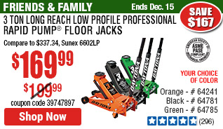 3 ton Long Reach Low Profile Professional Rapid Pump® Floor Jack - Orange