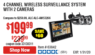 54 Channel Wireless Surveillance System with 2 Cameras