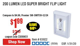 200 Lumen LED Super Bright Flip Light