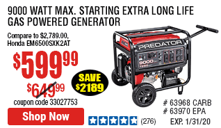 9000 Watt Max Starting Extra Long Life Gas Powered Generator - EPA III