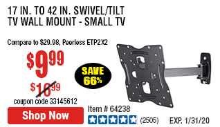17 in. to 42 in. Swivel/Tilt TV Wall Mount - Small TV