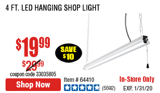 4 Ft. LED Hanging Shop Light