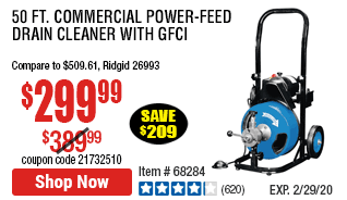 50 ft. Commercial Power-Feed Drain Cleaner with GFCI