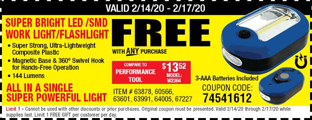 Free Ultra Bright LED Portable Worklight/Flashlight