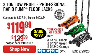 3 ton Low Profile Professional Rapid Pump® Floor Jack - Black