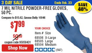 7 mil Nitrile Powder-Free Gloves, 50 Pc. Medium