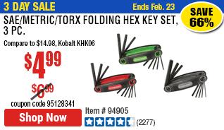 SAE/Metric/Torx Folding Hex Key Set, 3 Pc.