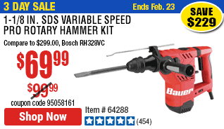 1-1/8 in. SDS Variable Speed Pro Rotary Hammer Kit