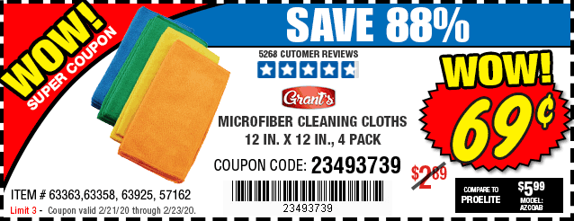 Free Microfiber Cleaning Cloth 12 in. x 12 in., 4 Pk.
