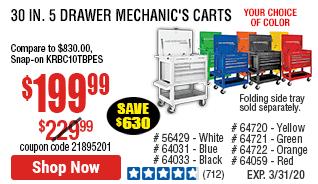 30 in. 5 Drawer Black Mechanic's Cart