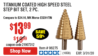 Titanium Coated High Speed Steel Step Bit Set, 2 Pc.