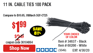 11 in. Black Cable Ties 100 Pk.