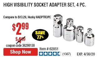 High Visibility Socket Adapter Set, 4 Pc.