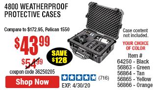 4800 Weatherproof Protective Case - X-Large Black