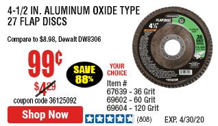 4-1/2 in. 36 Grit Aluminum Oxide Type 27 Flap Disc