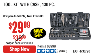 Tool Kit with Case, 130 Pc.