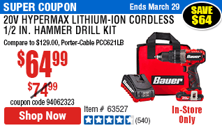 20V Hypermax™ Lithium-Ion Cordless 1/2 in. Hammer Drill Kit with 1.5 Ah Battery, Rapid Charger, and Bag
