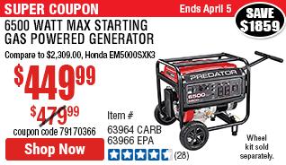 6500 Watt Max Starting Gas Powered Generator - CARB