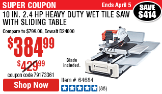10 in.  2.4 HP Heavy Duty Wet Tile Saw with Sliding Table
