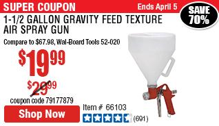 1-1/2 gallon Gravity Feed Texture Air Spray Gun