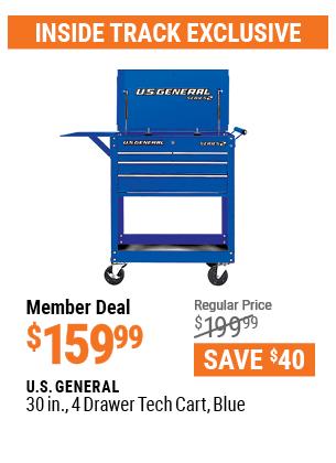 30 in. 4 Drawer Tech Cart, Blue