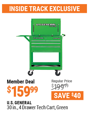 30 in. 4 Drawer Tech Cart, Green