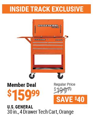 30 in. 4 Drawer Tech Cart, Orange