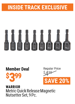 Metric Quick Release Magnetic Nutsetter Set, 9 Pc.