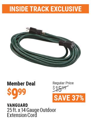 25 Ft. X 14 Gauge Green Outdoor Extension Cord