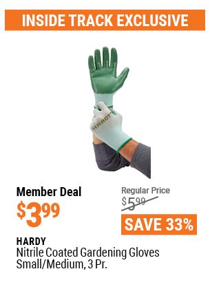 Nitrile Coated Gardening Gloves Small/Medium, 3 Pr.