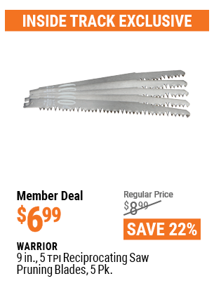 9 In. 5 TPI Reciprocating Saw Pruning Blades, 5 Pk.