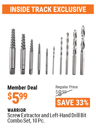 Screw Extractor And Left-Hand Drill Bit Combo Set, 10 Pc.