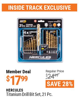 Hercules Titanium Drill Bit Set, 21 Piece