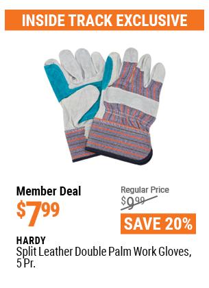 Split Leather Double Palm Work Gloves, 5 Pr.