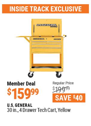 30 In. 4 Drawer Tech Cart, Yellow