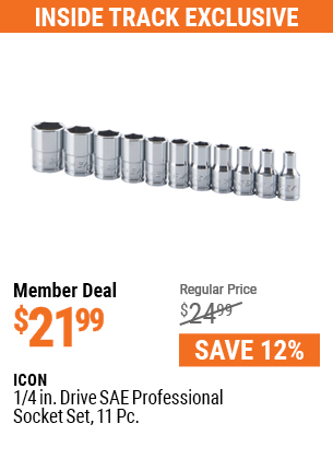 1/4 in. Drive SAE Professional Socket Set, 11 Pc.