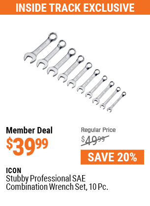 Stubby Professional SAE Combination Wrench Set, 10 Pc