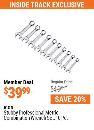 Stubby Professional Metric Combination Wrench Set, 10 Pc