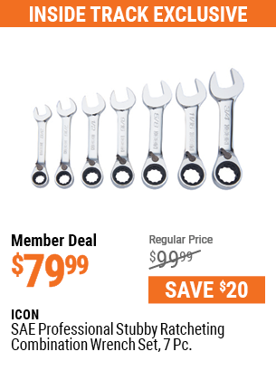 SAE Professional Stubby Ratcheting Combination Wrench Set, 7 Pc.