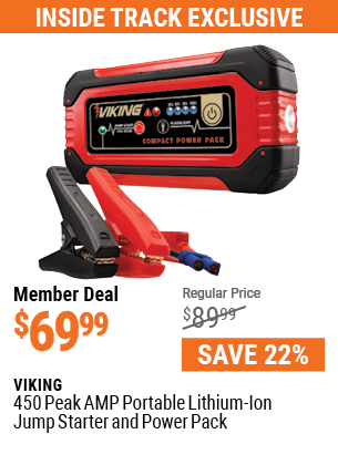 450 Peak Amp Portable Lithium Ion Jump Starter and Power Pack