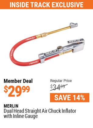 Dual Head Straight Air Chuck Inflator With Inline Gauge