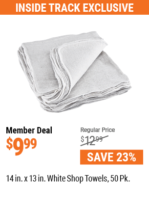 14 in. x 13 in. White Shop Towels, 50 Pk.