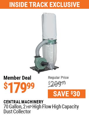 70 gallon 2 HP High Flow High Capacity Dust Collector