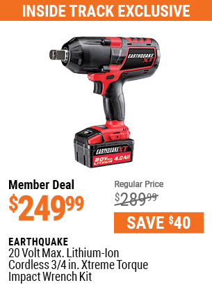 20v Max Lithium-Ion Cordless 3/4 in. Xtreme Torque Impact Wrench Kit