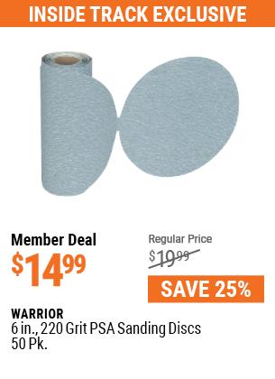 6 In. 220 Grit PSA Sanding Discs 50 Pk.