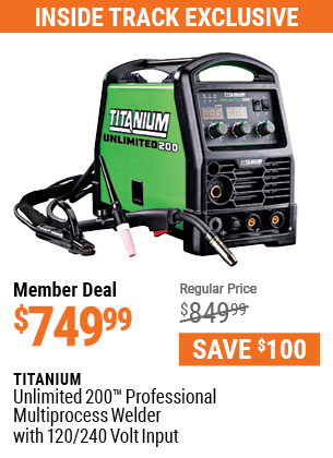 Unlimited 200 Professional Multiprocess Welder with 120/240 Volt Input