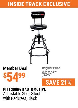 Adjustable Shop Stool with Backrest,  Black