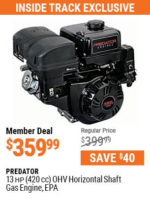 13 HP (420cc) OHV Horizontal Shaft Gas Engine, EPA
