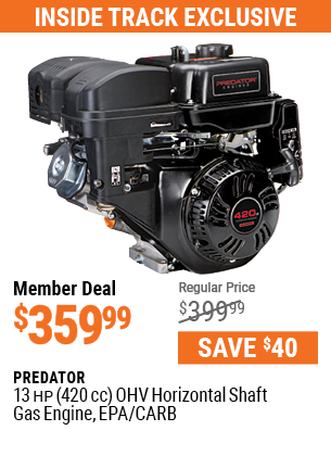 13 HP (420cc) OHV Horizontal Shaft Gas Engine, EPA/CARB
