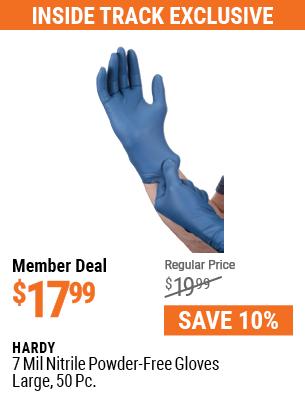 7 mil Nitrile Powder-Free Gloves, 50 Pc. Large